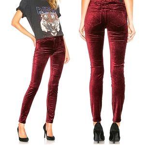 PAIGE - Verdugo Velvet Skinny Pants - Dark Red